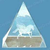 optical crystal pyramid paperweight