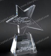 crystal star gluded on trapezoid pedestal